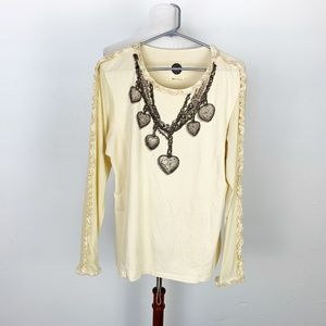 Double DD Ranch Size Large Stretch Top Tan Beaded